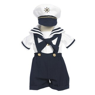 Baby Boys Navy Shorts White Shirt Sailor Hat Outfit 3-24M