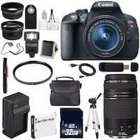 Canon EOS Rebel T5i 18 MP CMOS Digital SLR Camera w/EF-S 18-55mm (International Model) + EF 75-300mm Lens Bundle