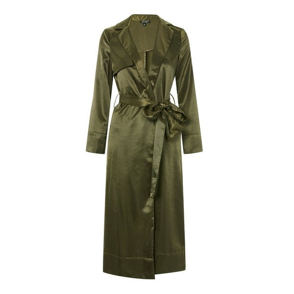 TopShop Green Satin Women's 6 Belted Collared Long Duster Coat