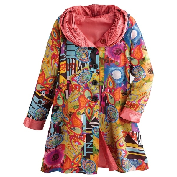 Shop Women S Reversible Print To Solid Rain Jacket