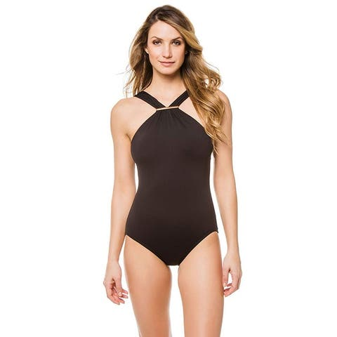 Michael Kors Women Iconic Solid One-Piece High Neck Swimsuit