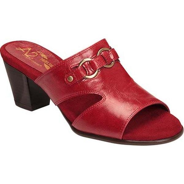 bcb3909f1ec A2 by Aerosoles Women  x27 s Base Board Slide Sandal Red Faux Leather