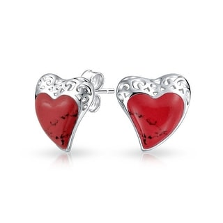Bling Jewelry Filigree Red Coral Heart Stud earrings 925 Sterling Silver 19mm