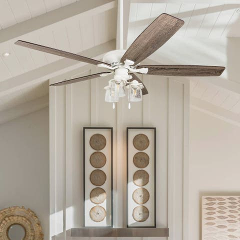 The Gray Barn Ascott 60-inch Coastal Indoor LED Ceiling Fan with Pull Chains 5 Reversible Blades - 60