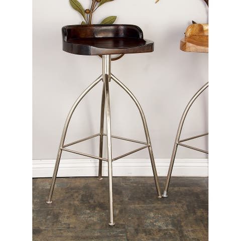 Contemporary 35 Inch Iron and Suar Wood Bar Stool by Studio 350