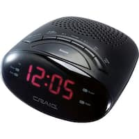 Craig LED AM/FM Alarm Clock Radio- Black