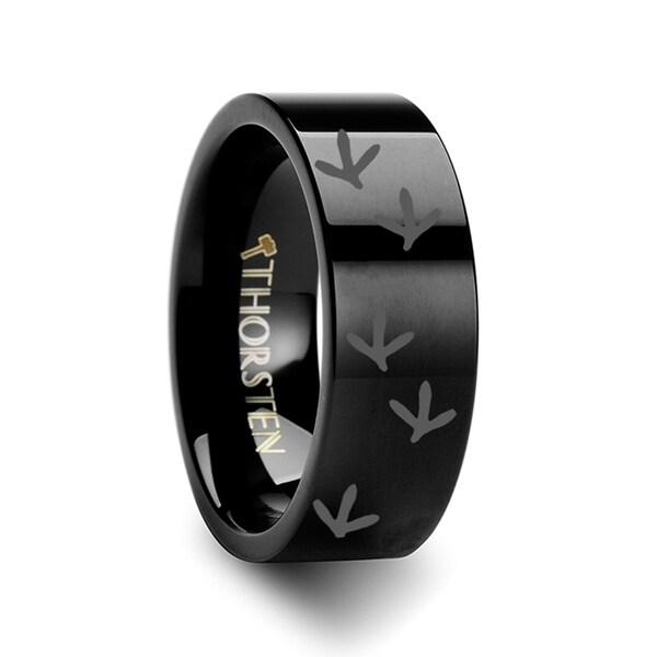 THORSTEN - Quail Bird Track Print Ring Engraved Flat Black Tungsten Ring - 12mm