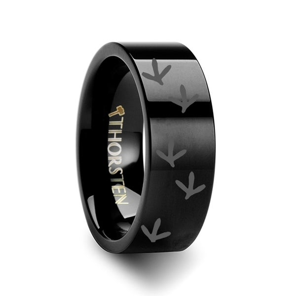 THORSTEN - Quail Bird Track Print Ring Engraved Flat Black Tungsten Ring - 4mm