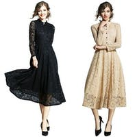 Women Long Sleeve Pleated Party Lace Dress