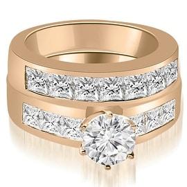 3.15 cttw. 14K Rose Gold Channel Set Princess Cut Diamond Bridal Set
