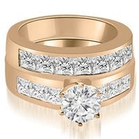 3.40 cttw. 14K Rose Gold Channel Set Princess Cut Diamond Bridal Set
