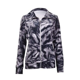 Style & Co. Women's Printed Long Sleeves Velour Zip Jacket