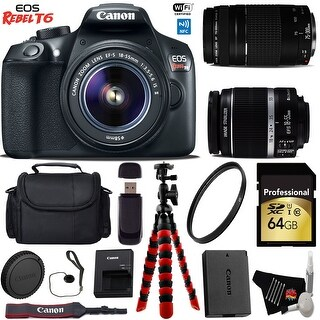 Canon EOS Rebel T6 DSLR Camera with 18-55mm IS II Lens & 75-300mm III Lens + Card Reader + Bundle 21 (Intl Model)