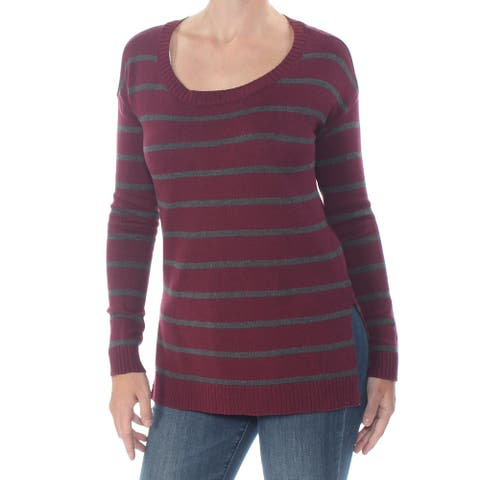 ARIZONA Womens Maroon Striped Long Sleeve Crew Neck Sweater Size 2X
