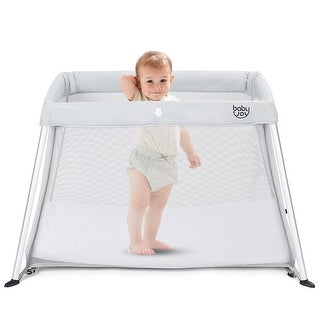Costway Portable Baby Playpen Playard Lightweight w/ Travel Bag For Newborn Toddler Gray/Pink