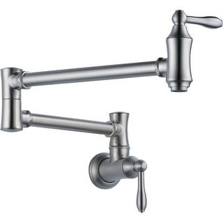 """Delta 1177LF Traditional Wall Mounted Pot Filler with Dual Swing Joints and 24"""" Extension - Includes Lifetime Warranty"""