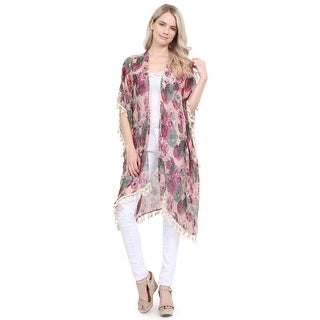 Riah Fashion's Floral Print Semi Sheer Tassel Cardigan