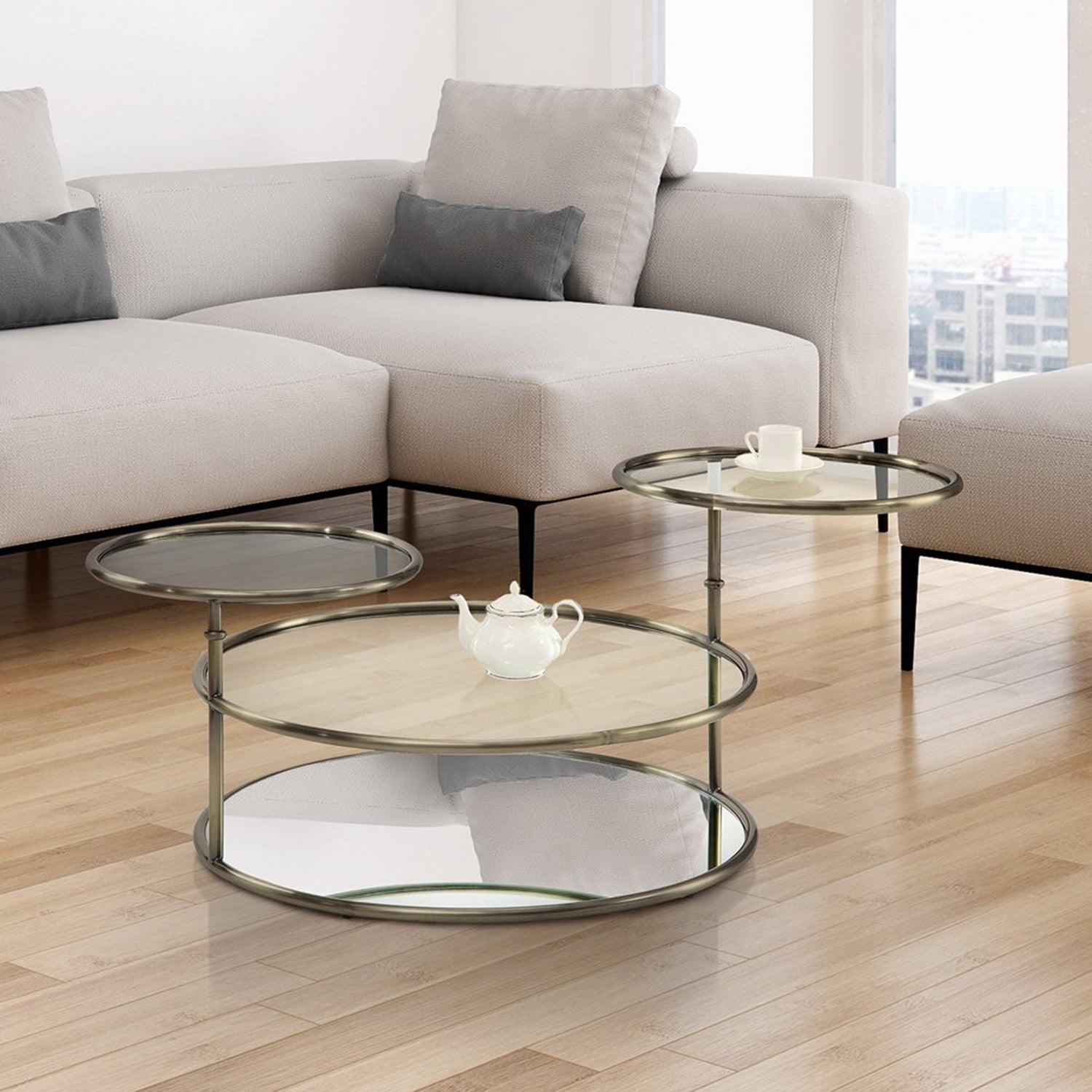 Picture of: Furniture Of America Hora Modern Gold Glass Round Swivel Coffee Table Overstock 13370434