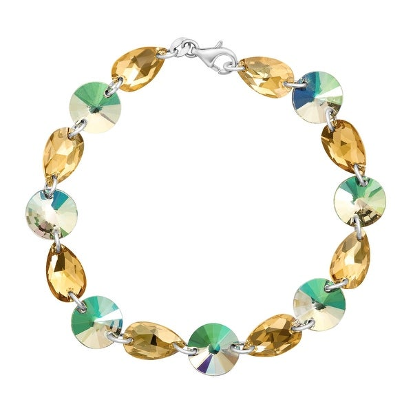 Crystaluxe Multi-Link Bracelet with Iridescent Swarovski elements Crystals in Sterling Silver