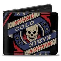 Stone Cold Steve Austin Skull Icon2 + Skull Close Up Stripe Black Red Blue Bi-Fold Wallet - One Size Fits most