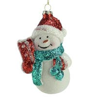 "4.75"" Retro Christmas Snowman Holding a Present Christmas Ornament"