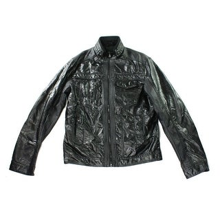 INC NEW Black Men Size 2XL Faux Leather Full Zip Motorcycle Jacket
