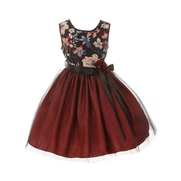 3a015a9dc82 Shop Little Girls Burgundy Floral Trim Overlaid Tulle Flower Girl ...