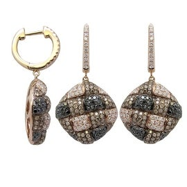 1.71 Carat Real Brown, Black and White Diamond Fabulous Earring Made in 14k Rose Gold