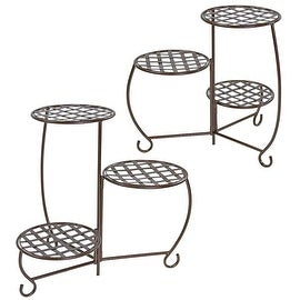 Sunnydaze Bronze Checkered Triple Planter Stand, Set of 2