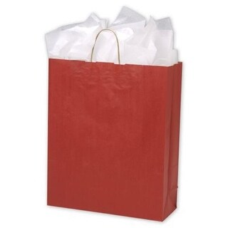 16 x 6 x 19 in. Varnish Stripe Shoppers, Red