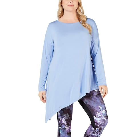 Ideology Women's Plus Size Asymmetrical Top, Pleasant Peri (3X)