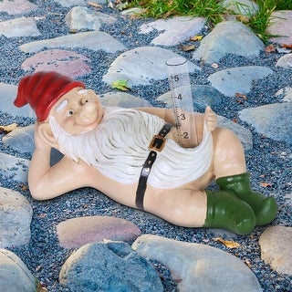 Exhart Good Time Naked Rain Gauge Ralph Gnome, 14 by 6 Inches