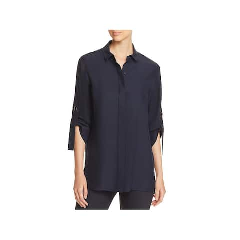 Lafayette 148 New York Womens Jeslyn Button-Down Top Silk Adjustable Sleeves