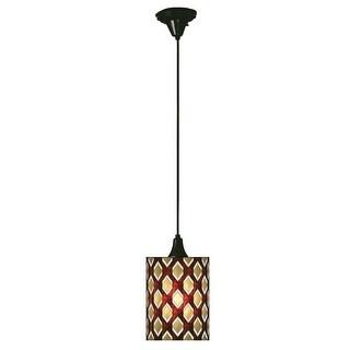 "Meyda Tiffany 18917 Single Light 9"" Wide Mini Pendant with Handmade Shade - craftsman brown"