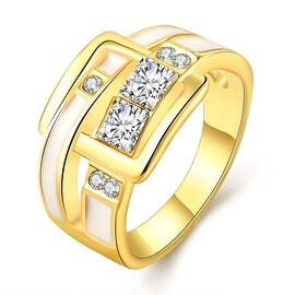 Gold Plated Ivory Belt Buckle Band Ring