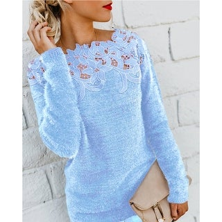 Link to Women's Solid Color Stitching Lace Long Sleeve Sweater Similar Items in Women's Sweaters