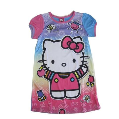 27fc7ab17 Sanrio Little Girls Pink Blue Hello Kitty Print Short Sleeved Nightgown 6