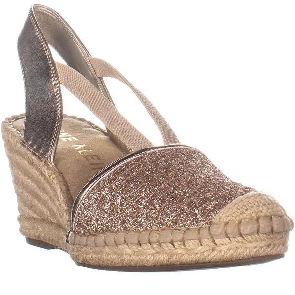 8c096d325dc Shop Anne Klein Aneesa Espadrille Wedge Sandals, Rose Gold - Free ...