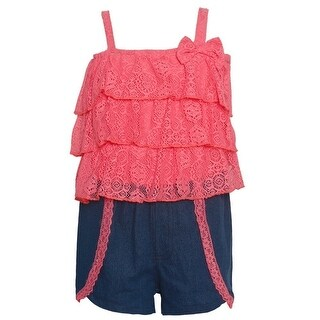 Real Love Little Girls Coral Bow Tiered Lace Top 2 Pc Shorts Outfit