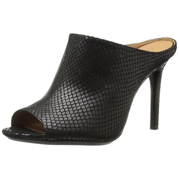 Calvin Klein Womens Nola Leather Open Toe Casual Mule Sandals