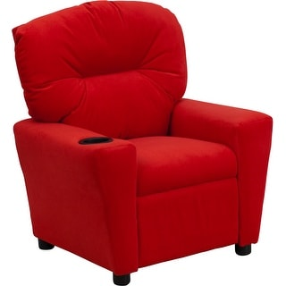 Offex Contemporary Red Microfiber Kids Recliner with Cup Holder [OF-BT-7950-KID-MIC-RED-GG]