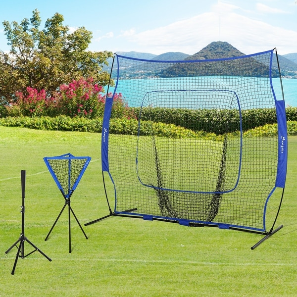 Soozier 7.5' x 7' Portable Baseball Batting Net Set with Catcher Net, 120 Ball Pitching Collector, & Tee Stand, Blue. Opens flyout.