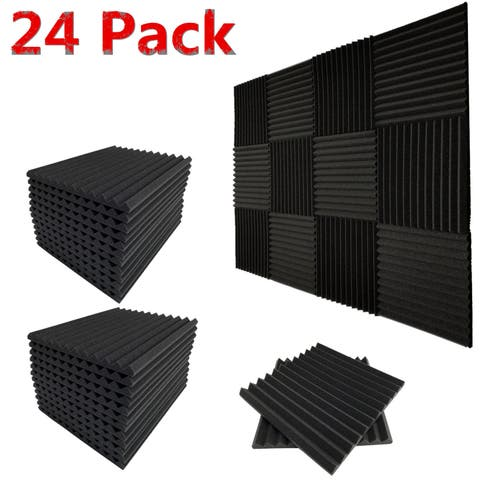 "24 Pack Acoustic Foam Panel Wedge Studio Soundproofing Foam Wall Tiles 12X12X1"" - charcoal"