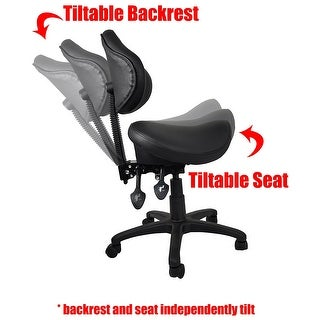 2xhome Ergonomic Adjustable Rolling Saddle Stool Chair with Back Support great for Home & Office, Exam, Waiting Rooms & More