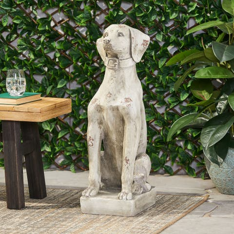 Gomer Outdoor Cast Stone Outdoor Dog Garden Statue by Christopher Knight Home