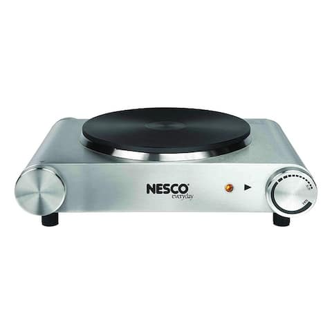Nesco SB-01 Stainless Steel Electric Burner, 1500-watt, Silver