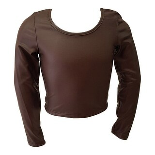 Girls Brown Faux Leather Soft Touch Long Sleeved Trendy Blouse