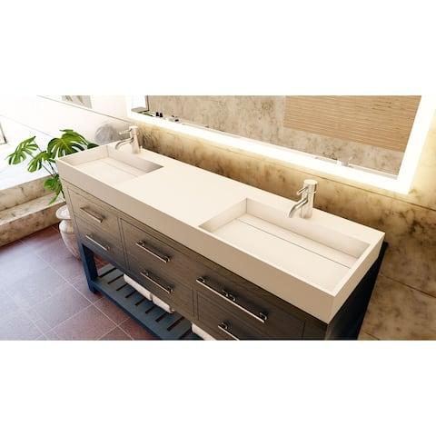 "Juniper 72"" Solid Surface Bathroom Vanity Top"