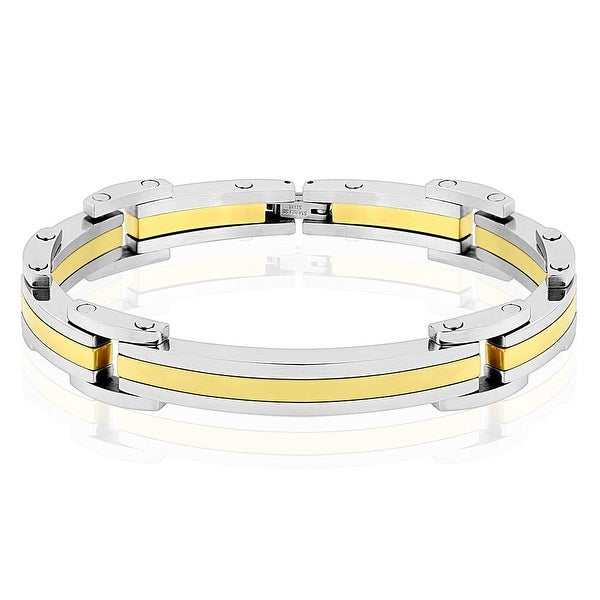 Two Tone Gold IP Stainless Steel Link Bracelet (12.5 mm) - 8.25 in
