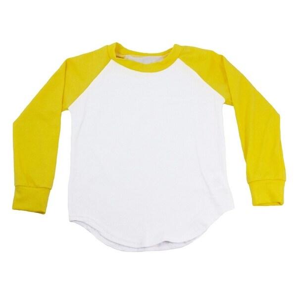 Unisex Baby Yellow Two Tone Long Sleeve Raglan Baseball T-Shirt 6-12M